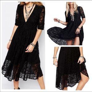 Free People Laurel black lace dress
